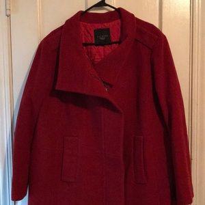 Women's Talbots Red Wool Dress Winter Coat sz 20W